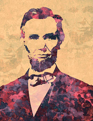 Politicians Royalty-Free and Rights-Managed Images - Tribute To Abraham Lincoln watercolor painting by Georgeta Blanaru