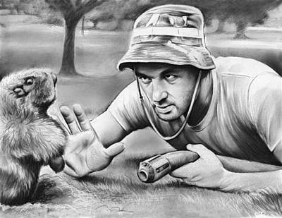 Golf Drawing - Tribute To Caddyshack by Greg Joens