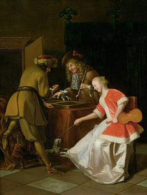 Backgammon Photograph - Tric-trac Players With A Lady And Her Dog Oil On Canvas by Jacob Ochtervelt