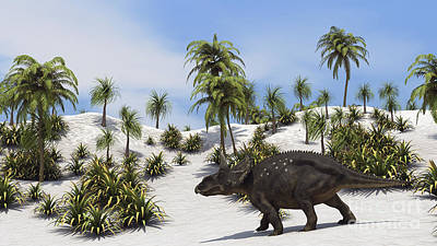 Tree Ferns Digital Art - Triceratops In A Tropical Setting by Kostyantyn Ivanyshen