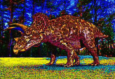 Triceratops Digital Art - Triceratops Painting by Ramon Martinez