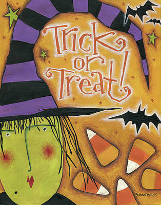 Bat Painting - Trick Or Treat by Anne Tavoletti
