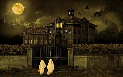 Haunted House Digital Art - Trick Or Treat Halloween House by Movie Poster Prints