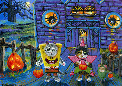 Cartoon Spider Painting - Trick Or Treat With Spongebob Patrick And Plankton by Jacquelin Vanderwood