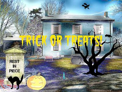 Haunted House Mixed Media - Trick Or Treats Haunted House by Skyler Tipton