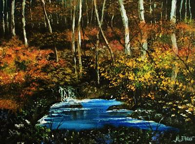 Painting - Trickling Pond In The Deep Forest by Al Brown