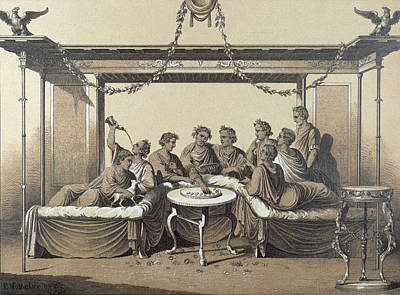 Chaise Longue Drawing - Triclinium, Dinner In A Formal Roman Dining Room, Food by English School