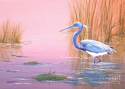 Wetland Painting - Tricolored Heron by Bill Holkham