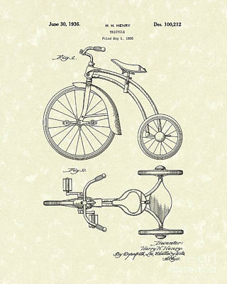 Tricycle Drawing - Tricycle 1936 Patent Art by Prior Art Design