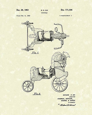 Tricycle Drawing - Tricycle 1953 Patent Art by Prior Art Design