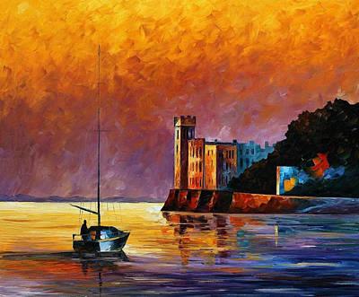 Trieste Gulf - Palette Knife Oil Painting On Canvas By Leonid Afremov Original by Leonid Afremov