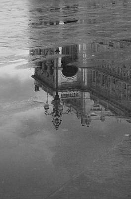 Photograph - Trieste Reflection In Mono by Graham Hawcroft pixsellpix