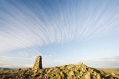 Scree Photograph - Trig Point On The Summit Of Red Screes by Ashley Cooper