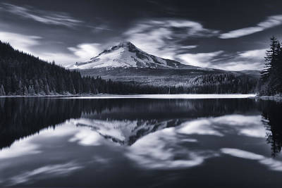 Mount Hood Photograph - Trillium Escape Monochrome by Darren  White
