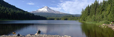 Trillium Lake And Mt Hood Panorama Oregon. Art Print by Gino Rigucci