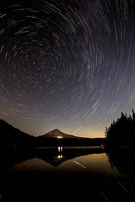 Photograph - Trillium Lake Star Trail by Wes and Dotty Weber