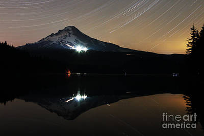 Mt Hood Photograph - Trillium Lake Star Trails by Kevin Westenbarger