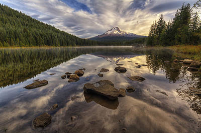 Mount Hood Photograph - Trillium Reflection by Mark Kiver