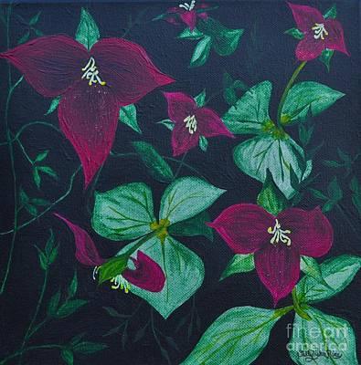 Trilliums Art Print by Sally Rice