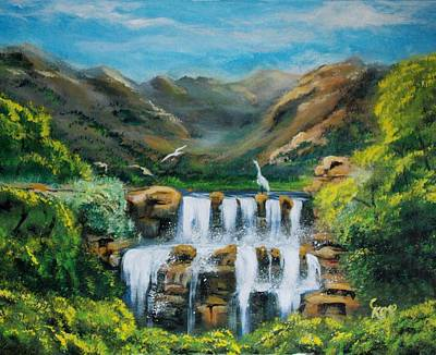 Painting - Trilogy Falls by Chuck Kemp