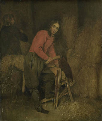Bales Drawing - Trimming Bales Of Hay, Attributed To Caspar Netscher by Litz Collection