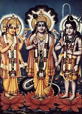Hindu Mythology Photograph - Trimurti Three Forms In Sanskrit by Everett