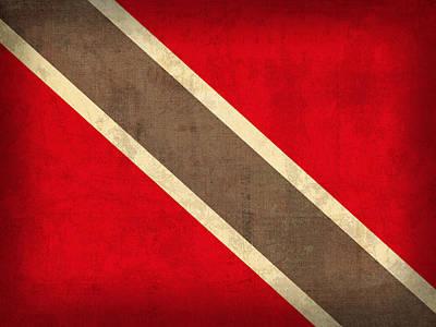Trinidad And Tobago Flag Vintage Distressed Finish Art Print