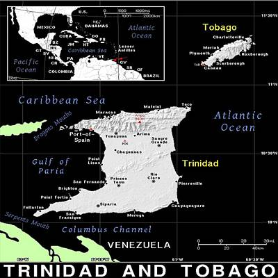 Mixed Media - Trinidad And Tobago Map by Florene Welebny