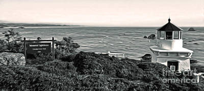 Painting - Trinidad California - Lighthouse - Sepia Tone by Gregory Dyer