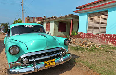 Old Street Photograph - Trinidad, Cuba, With Blue Classic 1950s by Bill Bachmann