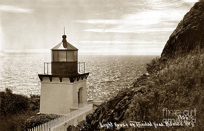 Photograph - Trinidad Head Light Humboldt County California 1910 by California Views Mr Pat Hathaway Archives