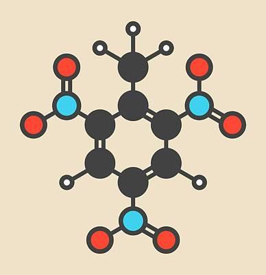 Tnt Photograph - Trinitrotoluene Tnt Explosive Molecule by Molekuul