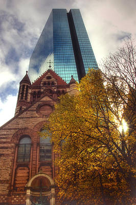 Autumn Scene Photograph - Trinity And The Hancock by Joann Vitali