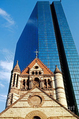 Photograph - Trinity Church And Hancock Tower by Spencer Grant