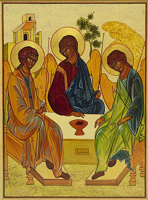 Holy Trinity Icon Painting - Trinity by Gail Schimberg