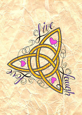 Filigree Drawing - Trinity Knot by Rik Hayes