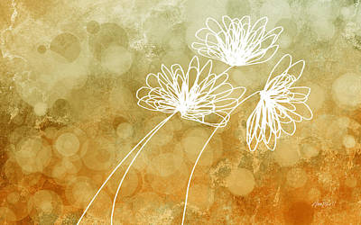 Digital Art - Trio Abstract Flower Art  by Ann Powell