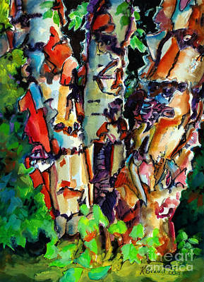 Art Print featuring the painting Trio Birch 2014 by Kathy Braud