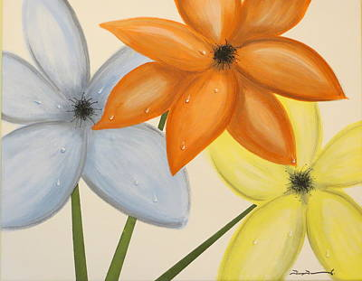 Trio Of Flowers Art Print by Tim Townsend