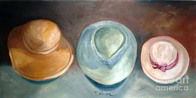 Art Print featuring the painting Trio Of Hats - Original Sold by Therese Alcorn