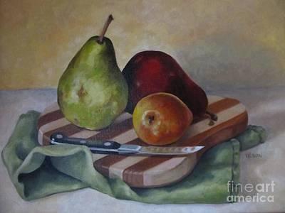 Painting - Trio Of Pears by Karen Olson