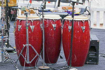 Merengue Photograph - Trio Of Red Conga Drums by JPLDesigns