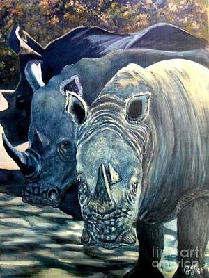 Poaching Painting - Trio Of Rhino by Caroline Street