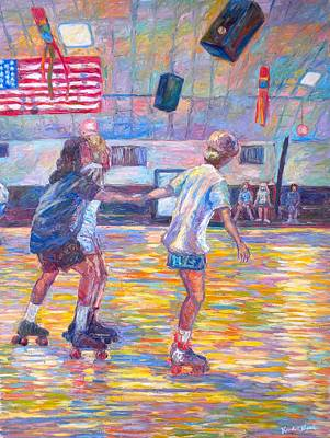 Impressionism Drawing - Trios At Dominion Skating Rink by Kendall Kessler