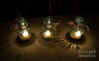Photograph - Triple Candle Glow by Kerri Mortenson
