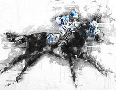 Racehorse Digital Art - Secretariat Triple Crown 73 by Gary Bodnar