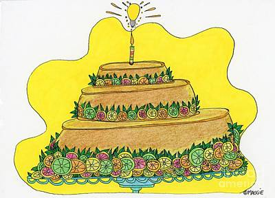 Candle Stand Painting - Triple-decker Flan  by Mag Pringle Gire