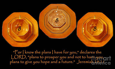 Photograph - Triple Eight Octagon Saucers With Jeremiah Twenty Nine Eleven On Black by Heather Kirk