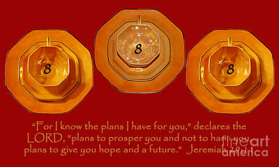 Photograph - Triple Eight Octagon Saucers With Jeremiah Twenty Nine Eleven On Red by Heather Kirk