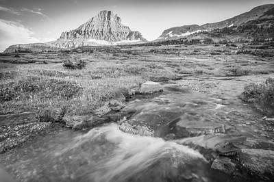 Photograph - Triple Falls Stream Glacier National Park Bw by Rich Franco